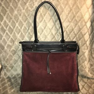 Franklin Covey Suede and Leather Maroon Bag